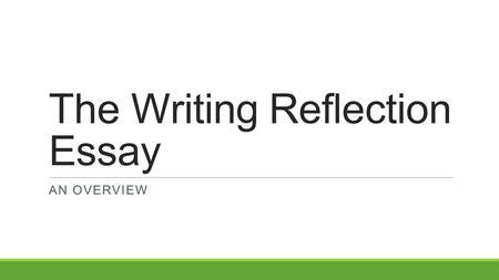 How to write an interview reflection papers